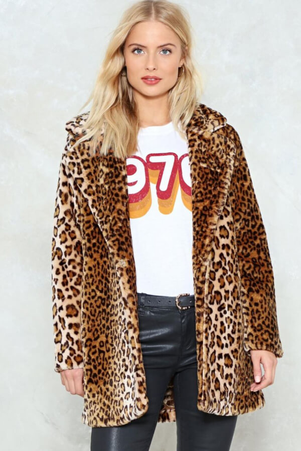 Seasons may come and go, but animal prints are always around. This eye-catching faux fur coat is an absolute head-turner!