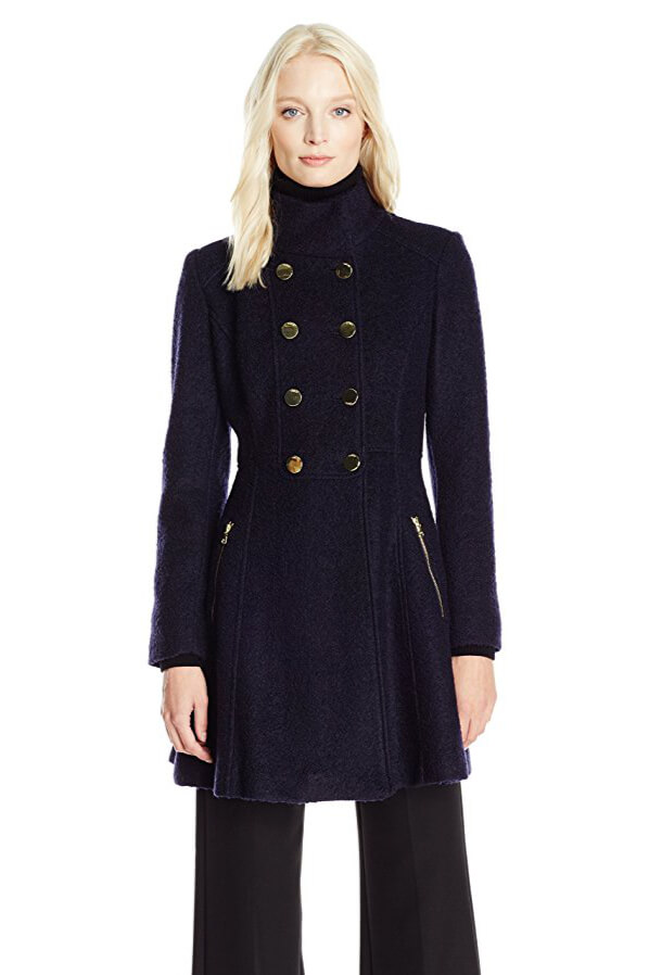 If a sophisticated look is what you're after, don't think twice about buying this military-inspired flared coat