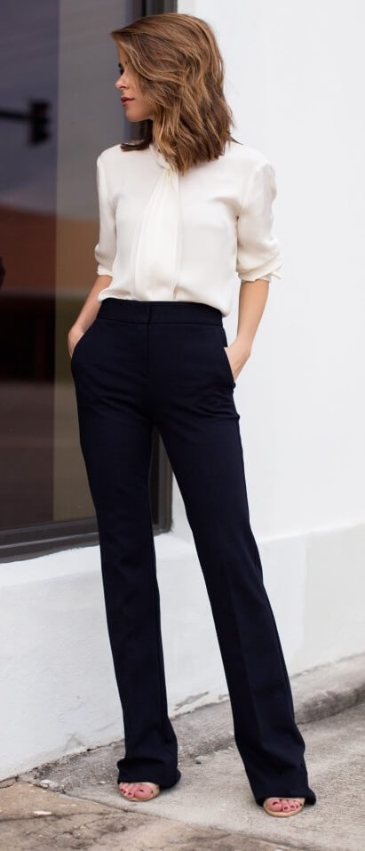 A pair of high-waisted trousers can form the basis of several other versatile looks. They can be dressed up for office wear with a soft silken blouse or dressed down with stilettos and a leather jacket.