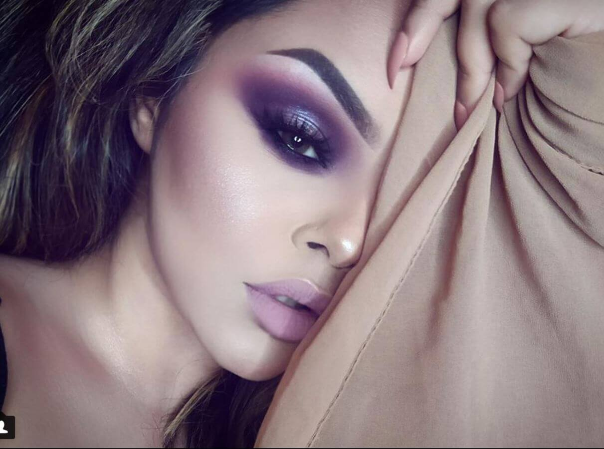 Purple smokey eyes look incredibly sexy on brown eyes.