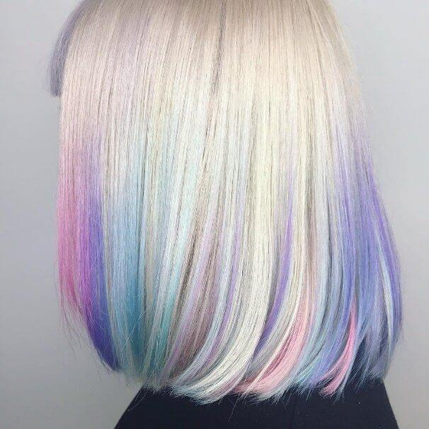 This swingy bob is absolutely luminous thanks to an ombré shading of pastel tints