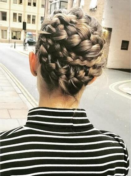 If your hair falls anywhere from shoulder length all the way to down your back, try this spring style of intricately wrapped plaits