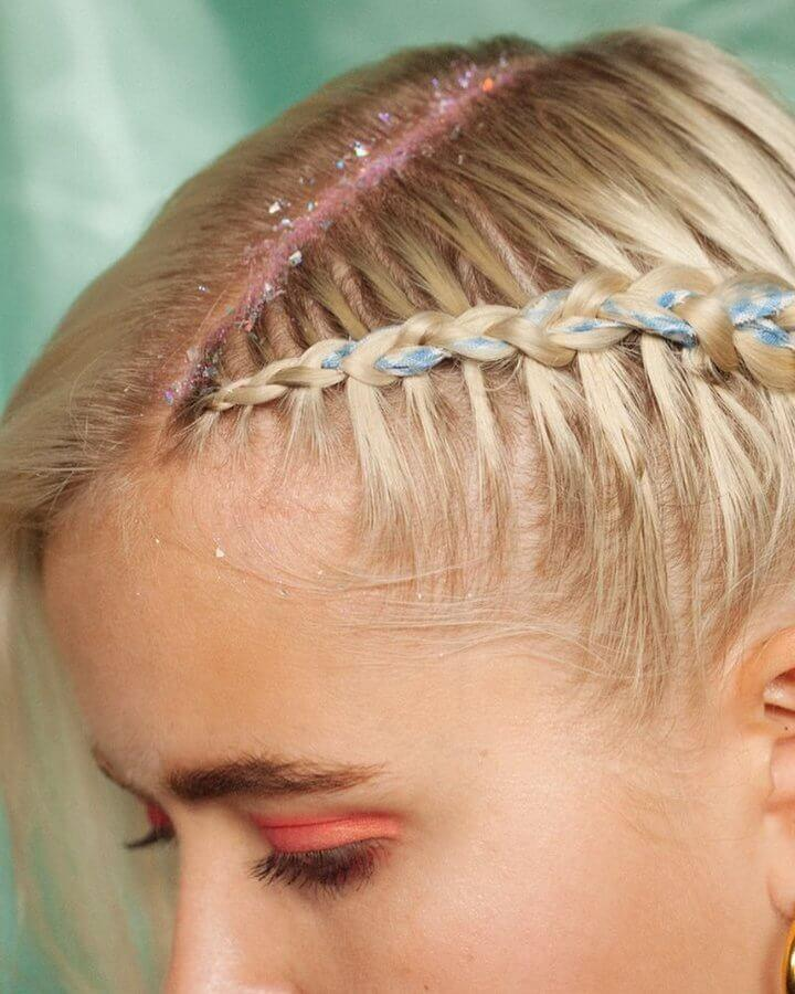 Add a touch of springtime sparkle to girly plaits
