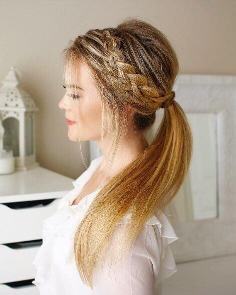 Show off your beautiful blonde lengths with a loose princess plait resembling a dainty crown