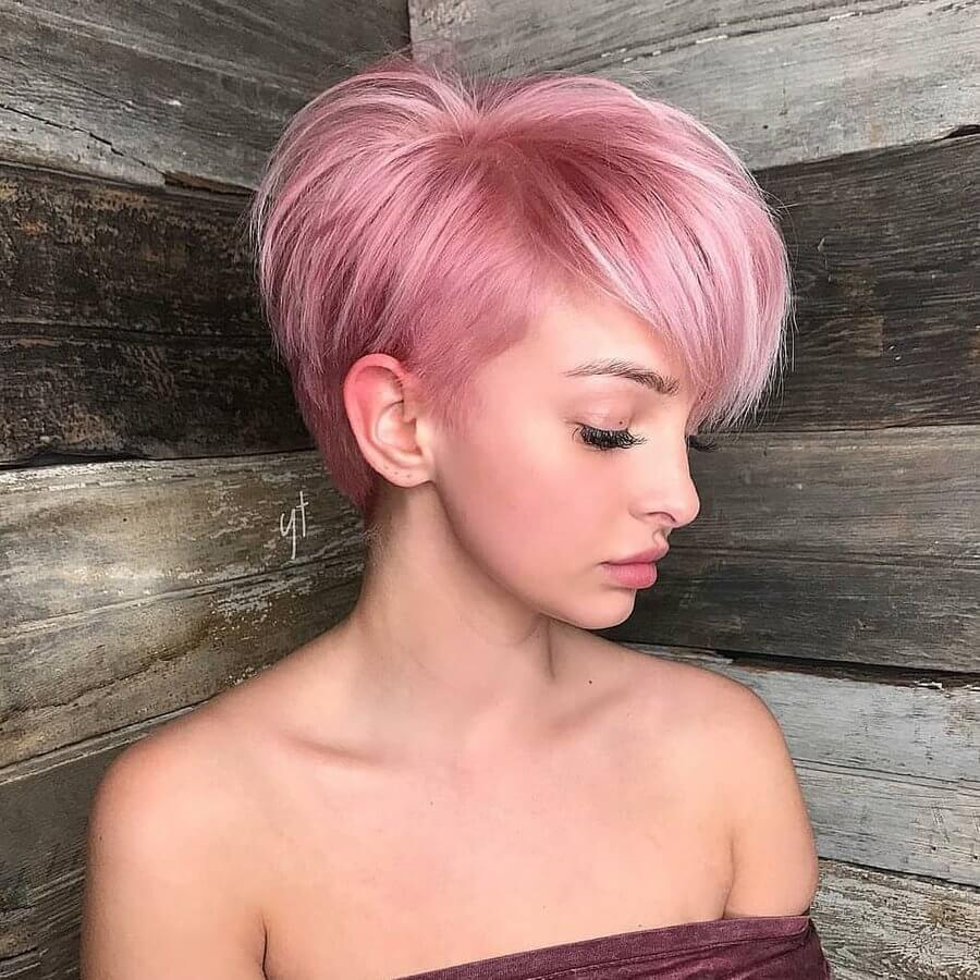 Supercharge a pixie cut with a pretty pastel pink dye job