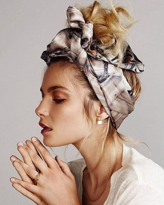 Add some glamour to spring days with a luxurious silk scarf wrapped around your head with a cheeky top knot sticking out for good measure!