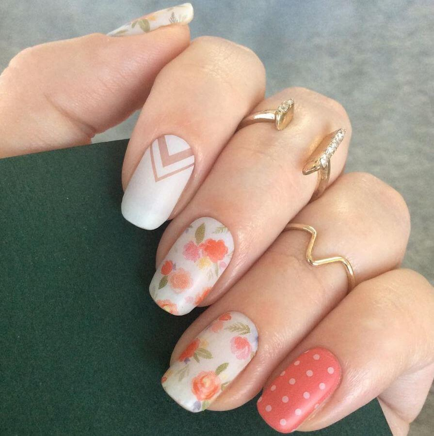 Florals, polka dots, and geometry... this nail art has it all!