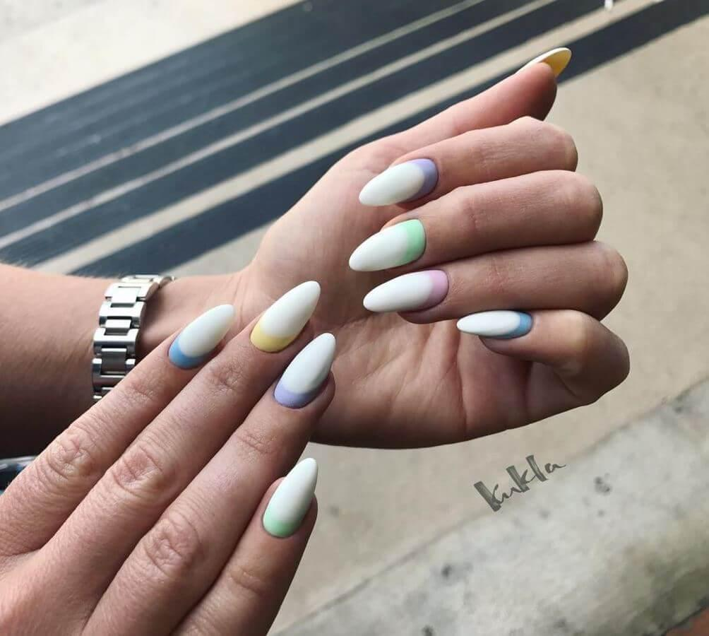 Want to incorporate pastels subtly? Then this is the perfect nail art for you!