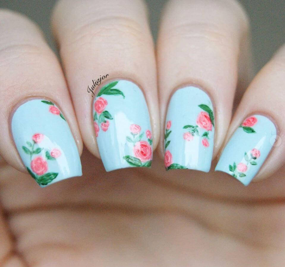 We love these vintage floral nails in that perfect shade of powder blue.