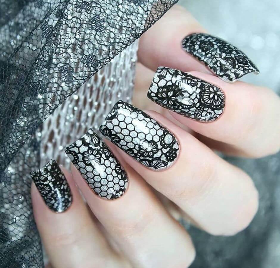 For a gothic vibe, try these lace nails.