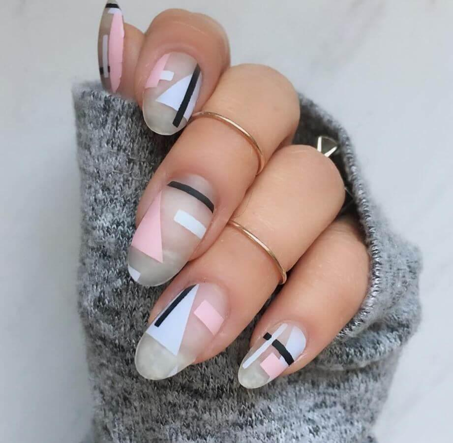 These geometric nails are definitely unique!