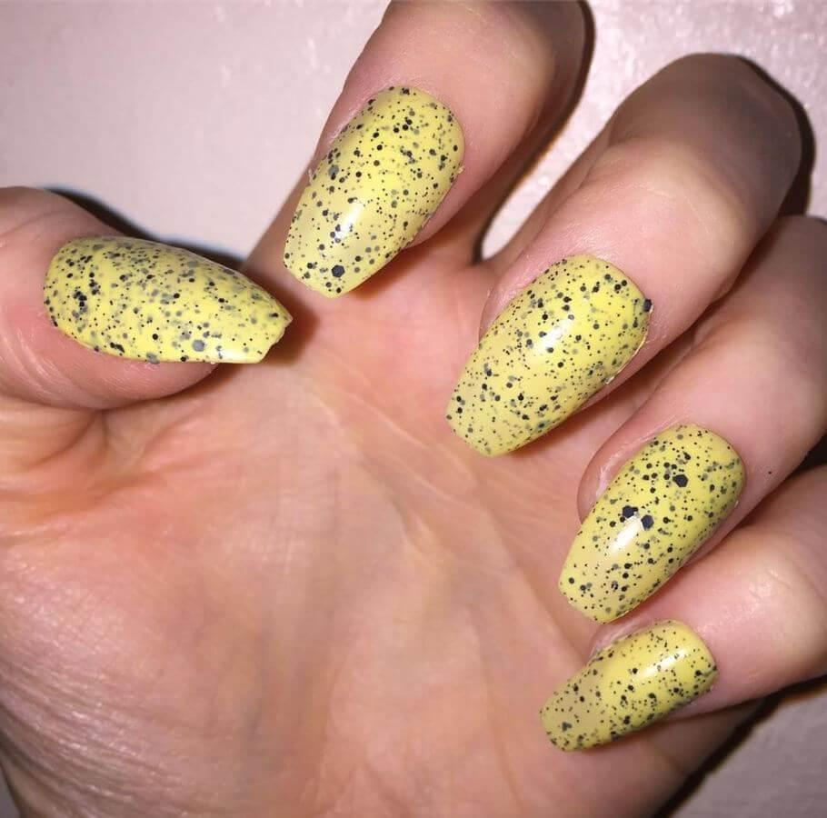 Try specks of grey and black on yellow nails to take it to the next dimension.