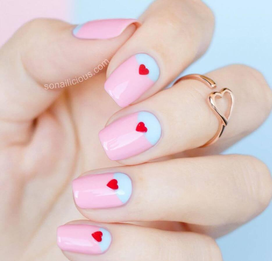 "Pastel pink and blue are super cute together. Add tiny red hearts for that added ""Aww"" factor."