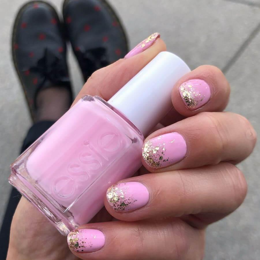 Baby pink and glitter are a match made in nail art heaven!