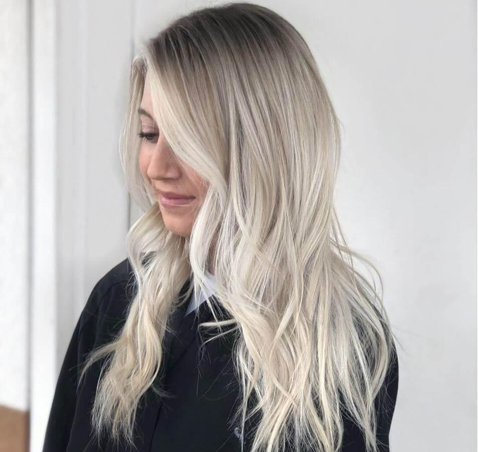 Darker roots complement ash blonde hair beautifully!