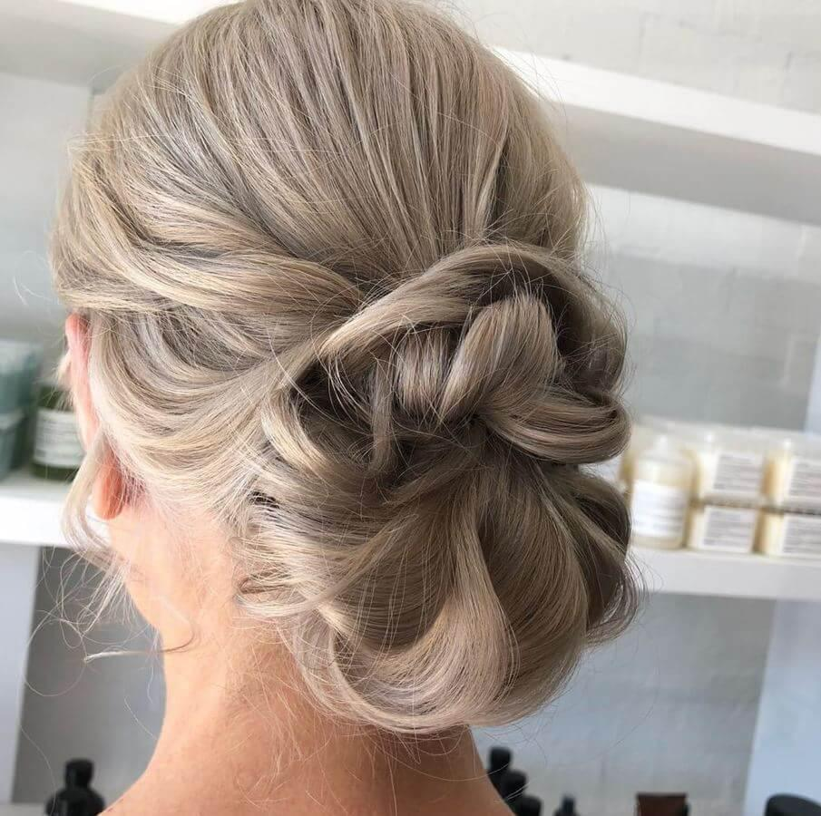Try an updo with your ash blonde hair to look super chic!