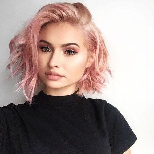 Rose gold short hair is perfect for chic and trendy women