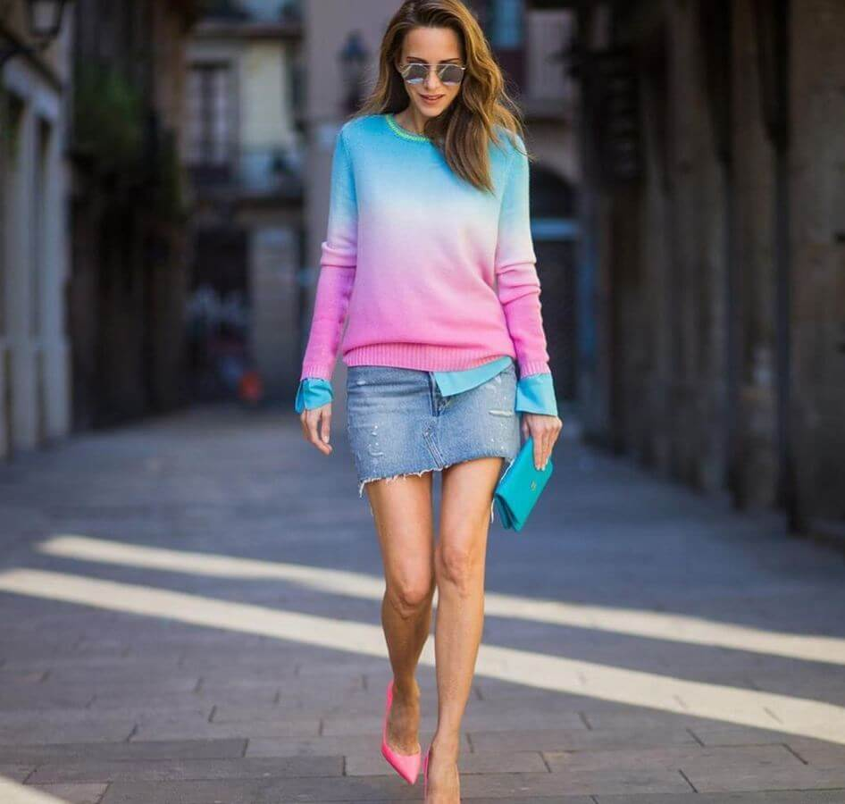 An ombre sweater top with a denim mini is perfect for early summer. Add hot pink heels and you're all set to make heads turn!