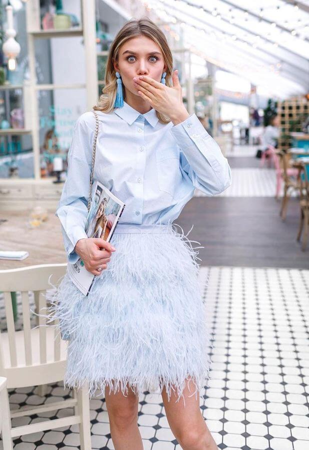 Fashion is all about having fun and we're so on board with this feather skirt!
