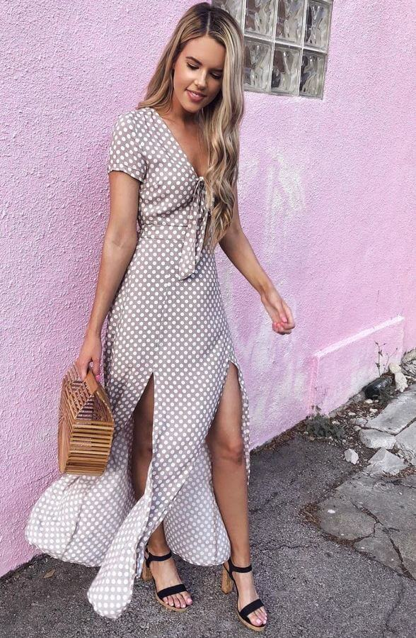 Maxi dresses were made for summer. Choose one with thigh-high slits to look extra glam!