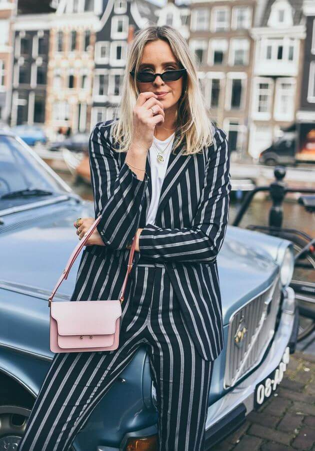A striped suit will easily transition from day to night.