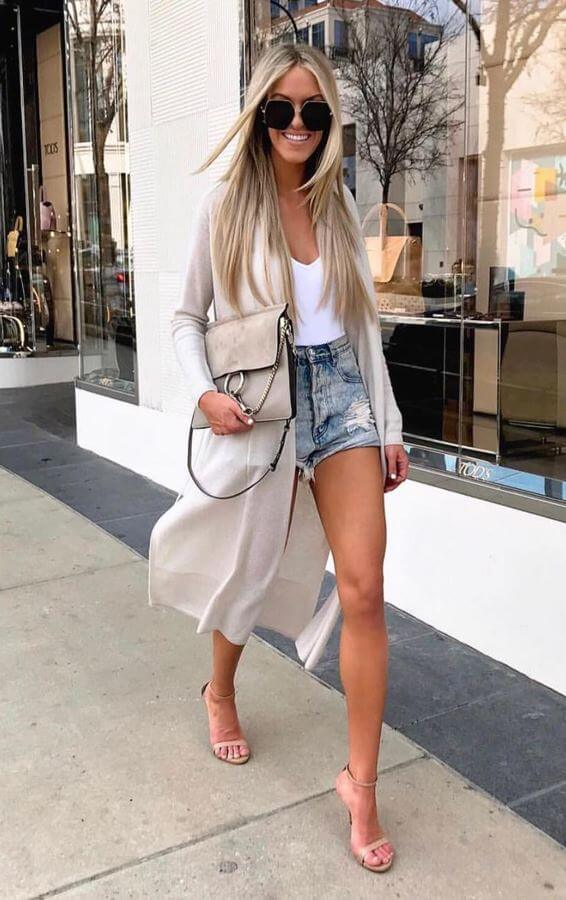 A duster jacket will instantly transform a casual tank and shorts look. Throw on a pair of heels for good measure.