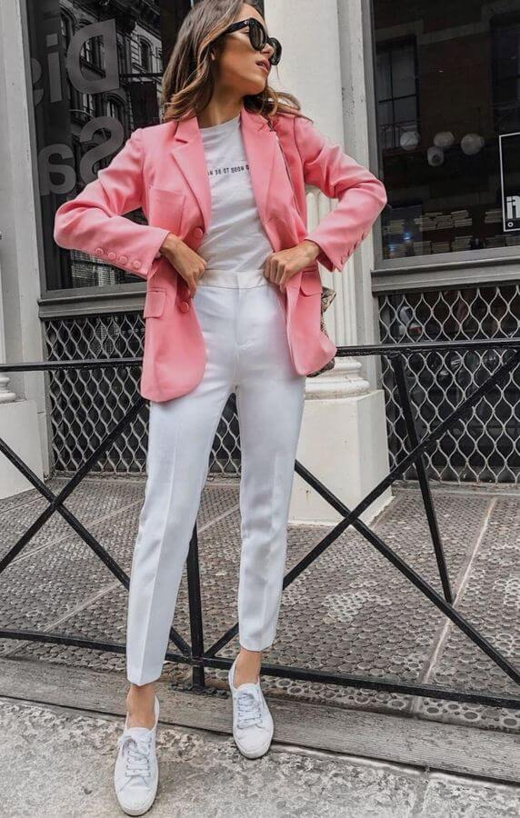 White on white will keep you cool on a warm summer day. Add a salmon-colored blazer to break the monotony.