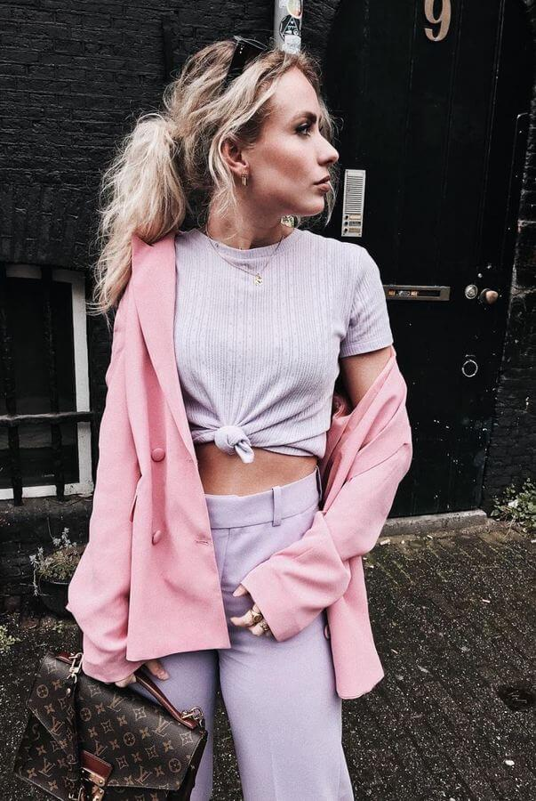Lavender is a must-have color this season. Wear a lavender crop top with matching trousers and add a light pink jacket to keep it all in the pastel family.