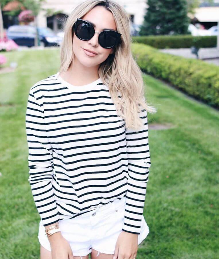 Shorts are of course quintessentially summer! Pair your white shorts with a simple striped top.