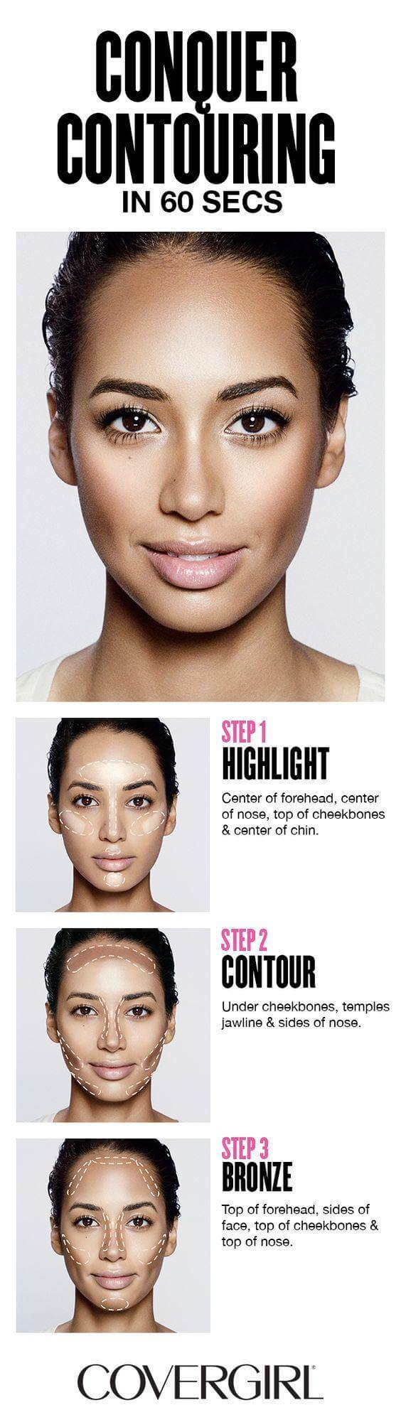 Contouring and highlighting may seem intimidating, but it really doesn't have to be. Simply follow these guidelines to achieve those chiseled cheekbones that most girls can only dream of!