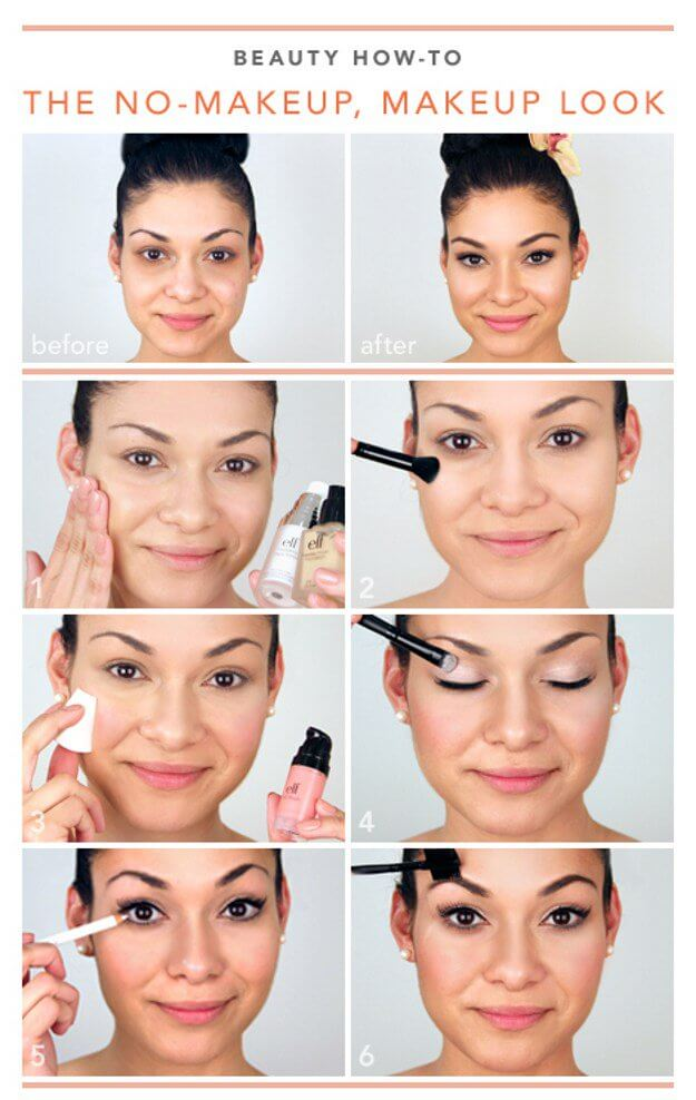 The most straightforward makeup looks are sometimes the best ones. To get this look, all you need to do is start with a primer and foundation. Add a cream blush and a pretty but neutral eyeshadow.