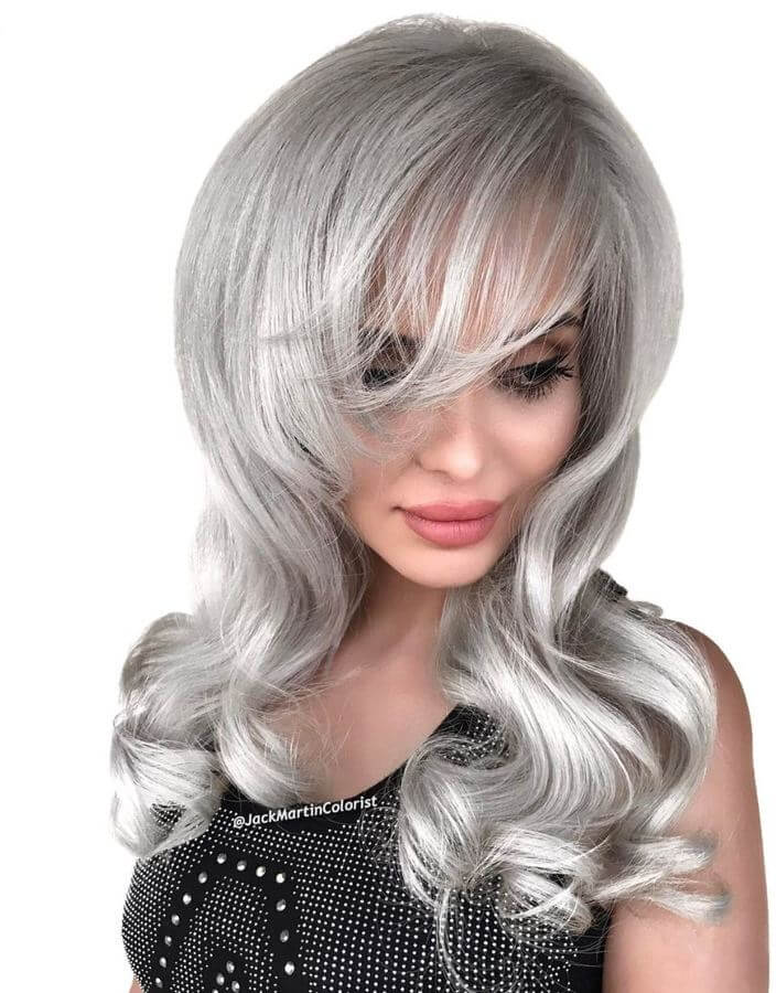 Silver hair with a ton of volume is the way to go!