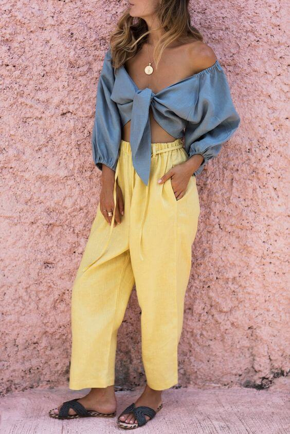 Surprisingly, lemon yellow and blue silk top make stunning summer outfit combination. #summerstyle #summerfashion