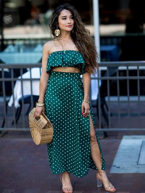 Instead of red polka dots, you can also opt for this green two-piece dress. Cult Gaia straw bag is a must-have! #summerstyle #summerfashion