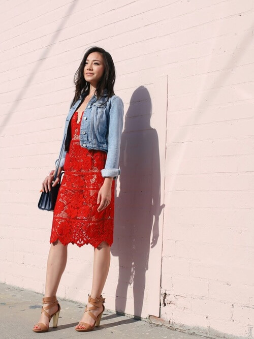 Red lace dress mixed with the denim jacket is ready for some nice and formal occasion. #summerstyle #summerfashion