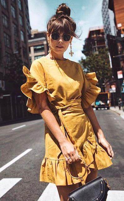 AS you can see, yellow will dominate this summer season. Don't wait too long, and buy a perfect ruffle dress like this one! #summerstyle #summerfashion