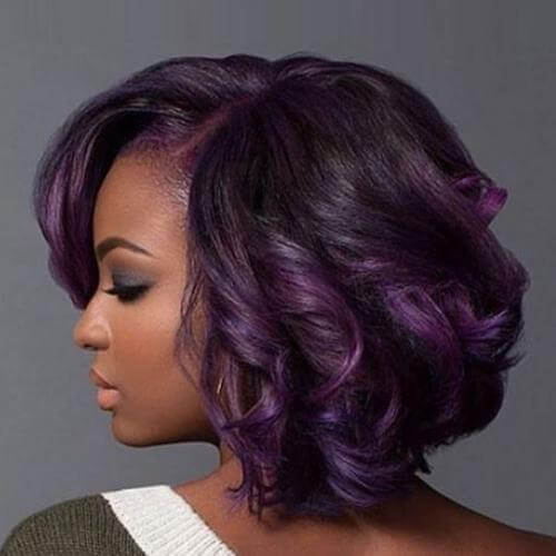 This beautiful, elegant ombre style brings together shades of deep purple and intense black, making for a striking, bold look.