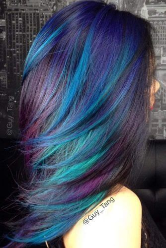 A bolder choice, this unicorn-inspired mix of colors utilizes a striking blue, deep purple, and a hint of aqua green.