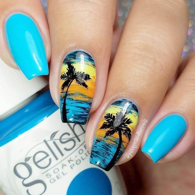 Painted on a bright blue base, this tropical palm tree design just screams summertime at the beach!