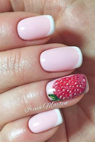 Paired with an elegant French manicure, this big strawberry inspired design is a simple, yet delicious look!
