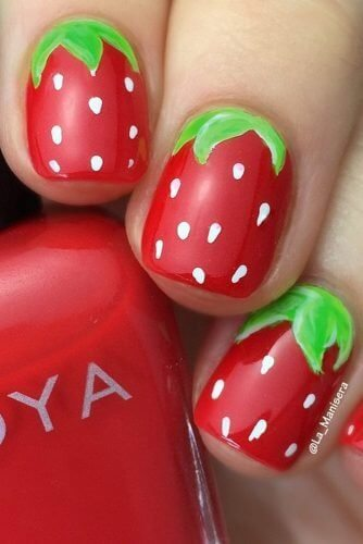 Another strawberry manicure, each nail here is fully decorated with sweet, yummy fruits!