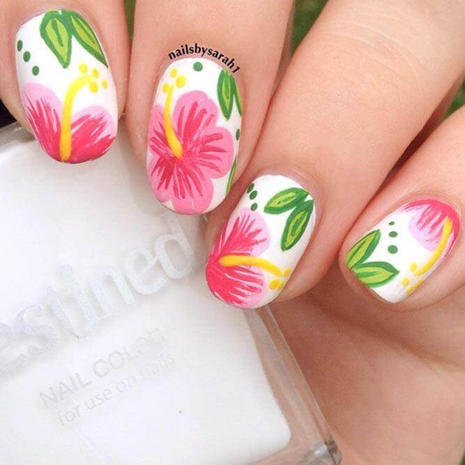 This adorable nail design proves that experimenting with different shades can result in a fabulous manicure!
