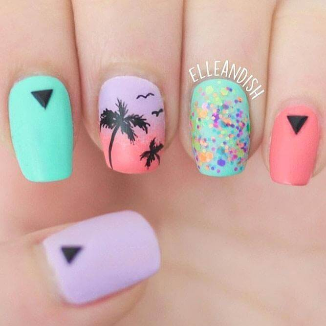 Using a mix of geometric and dotted details, this matte manicure will have you ready for a relaxing beach vacation.