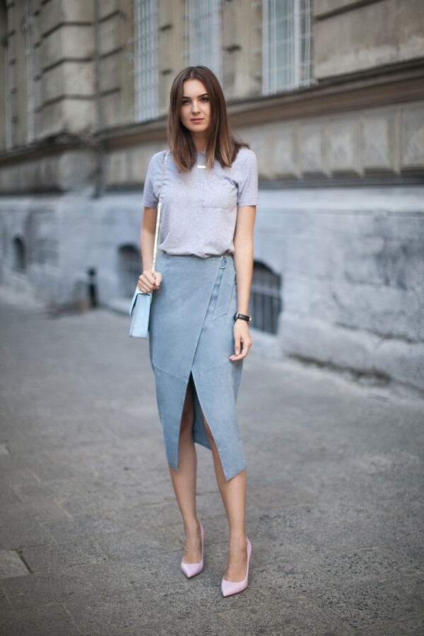 The power of a pencil skirt is already known, but brake out of the old patterns and switch things up with an asymmetrical cut skirt. Heels are a must and t-shirt will add that needed chic.