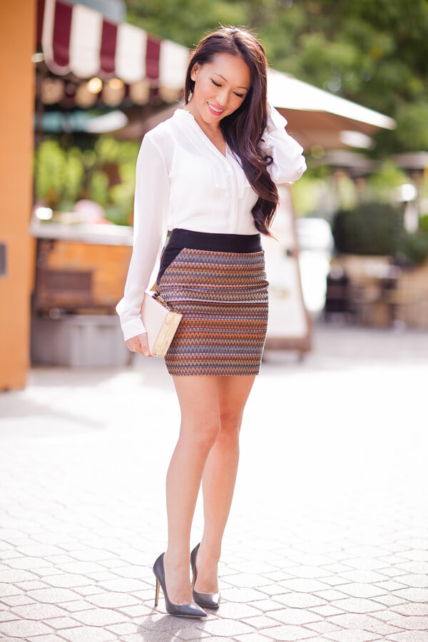 The perfect summer look from day to night, it has to be a mini skirt with a bold print and a button down shirt. For nighttime, add a statement necklace to the outfit, and you are ready for a party.