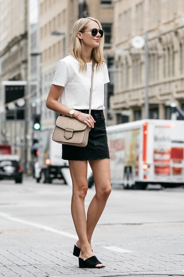 Black denim is the first choice for a minimalist look. A black mini skirt with white tee can be the perfect choice for a go-to summer look.