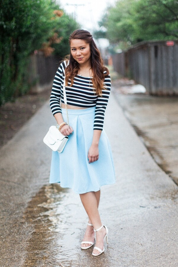 White heeled sandals can be easily paired with a pastel blue skirt. To keep it interesting, add a striped top.