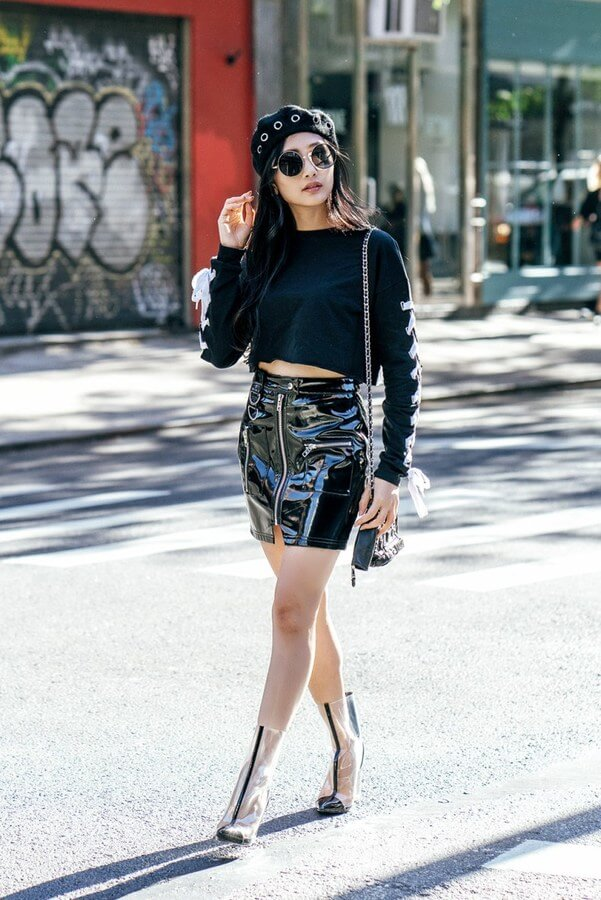 Latex skirts are great to make a statement. Especially if you pair them with a black shirt and seethrough booties.