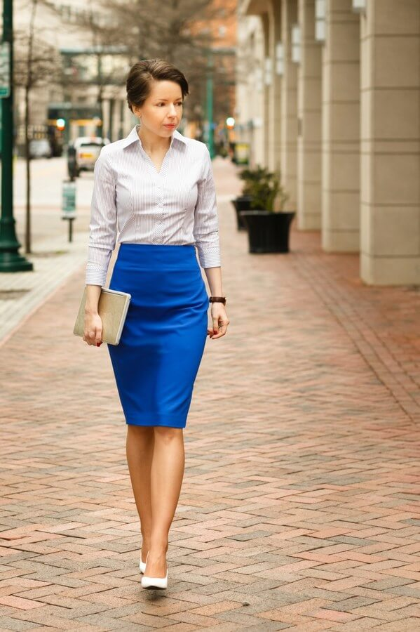 The man has the power suit, we, women have the pencil skirt. It's feminine, but it also makes a statement.