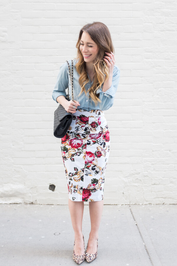 For those of you that go to the office and feel the need of some color, add a pencil skirt with a floral pattern. Bring the look down a bit with a jean shirt.